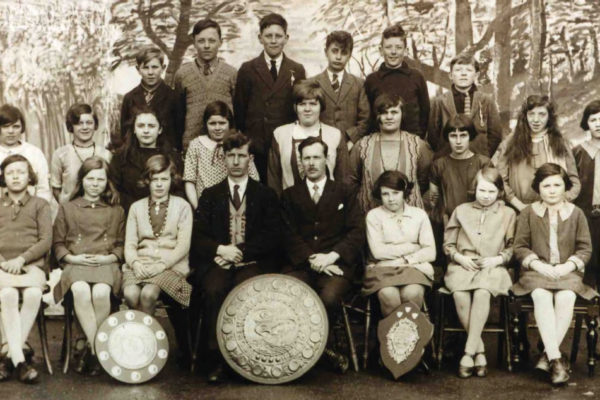 1920s/30s Port Isaac School Choir with three trophies they had won
