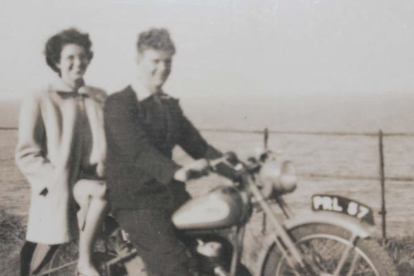 Bikers - Nina Oliver with her husband Bill's brother on his motorbike