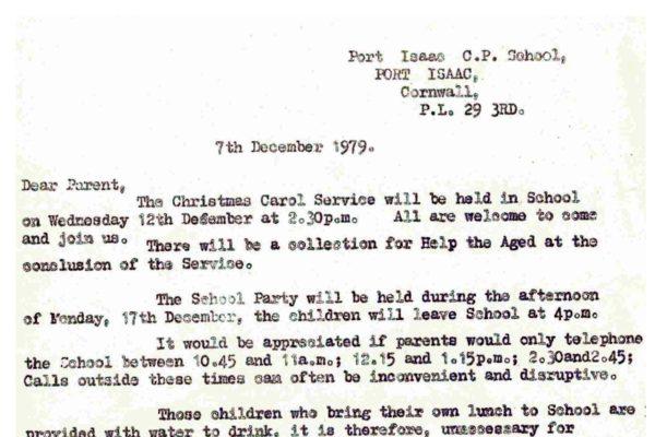 Port Isaac School christmas carol service 1979