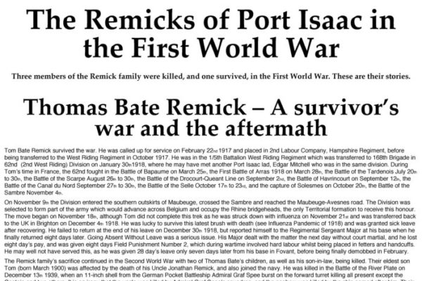 The Remicks of Port Isaac in the First World War