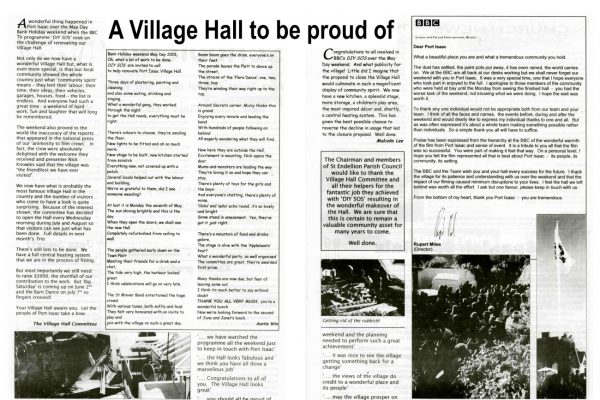 A Village Hall to be proud of