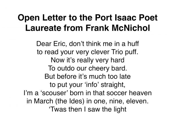 An Open Letter to the Port Isaac Poet Laureate from Frank McNichol