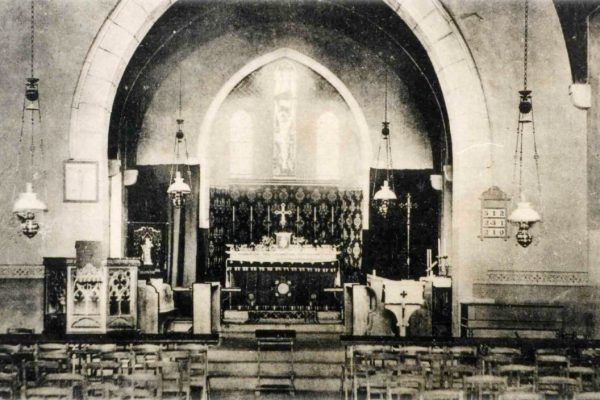An old picture of the inside of St Peter's Church