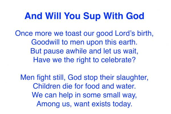 And Will You Sup With God