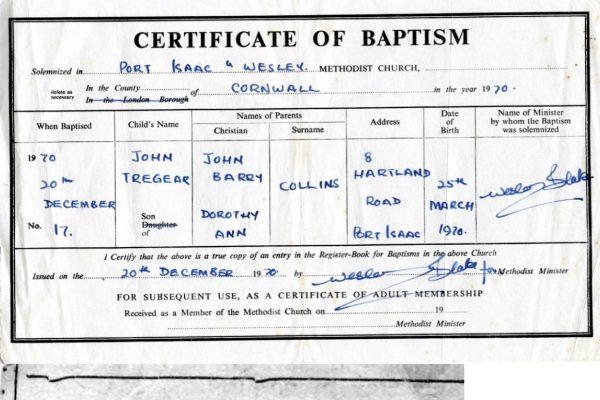 Baptism of John Collins