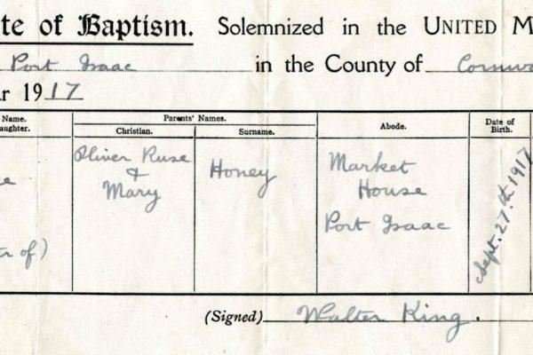 Baptism of Joyce Collins (nee Honey)