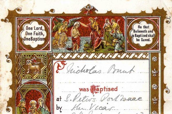 Certificate of Baptism of Nicholas Bunt