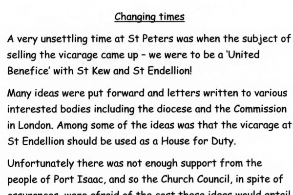 Changing times at St Peter's Church