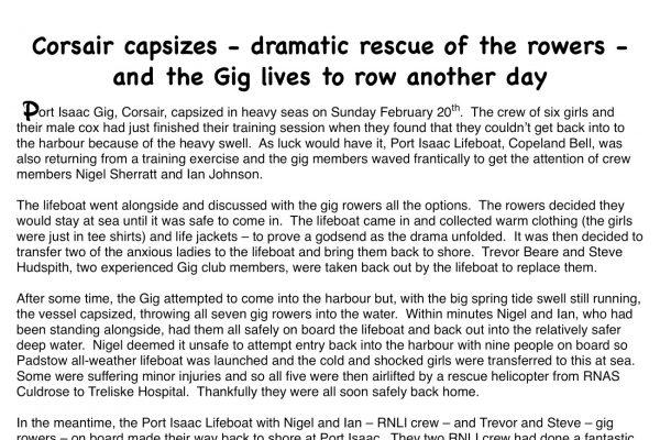 Port Isaac Gig, Corsair, capsizes